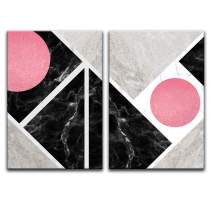 """wall26 - 2 Panel Canvas Wall Art - Abstract Geometric Composition - Giclee Print Gallery Wrap Modern Home Decor Ready to Hang - 24""""x36"""" x 2 Panels"""