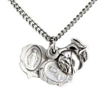 Heartland Women's Sterling Silver Triple Slide Rose with Miraculous Pendant + USA Made + Chain Choice