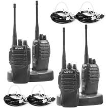 Olywiz HTD826 Walkie Talkies Two-Way Radio Long Range Rechargeable with Earpieces Headset 1800mAH Battery Dual Desktop Loud&Clear 16CH 4Pack for Security&Business School and More