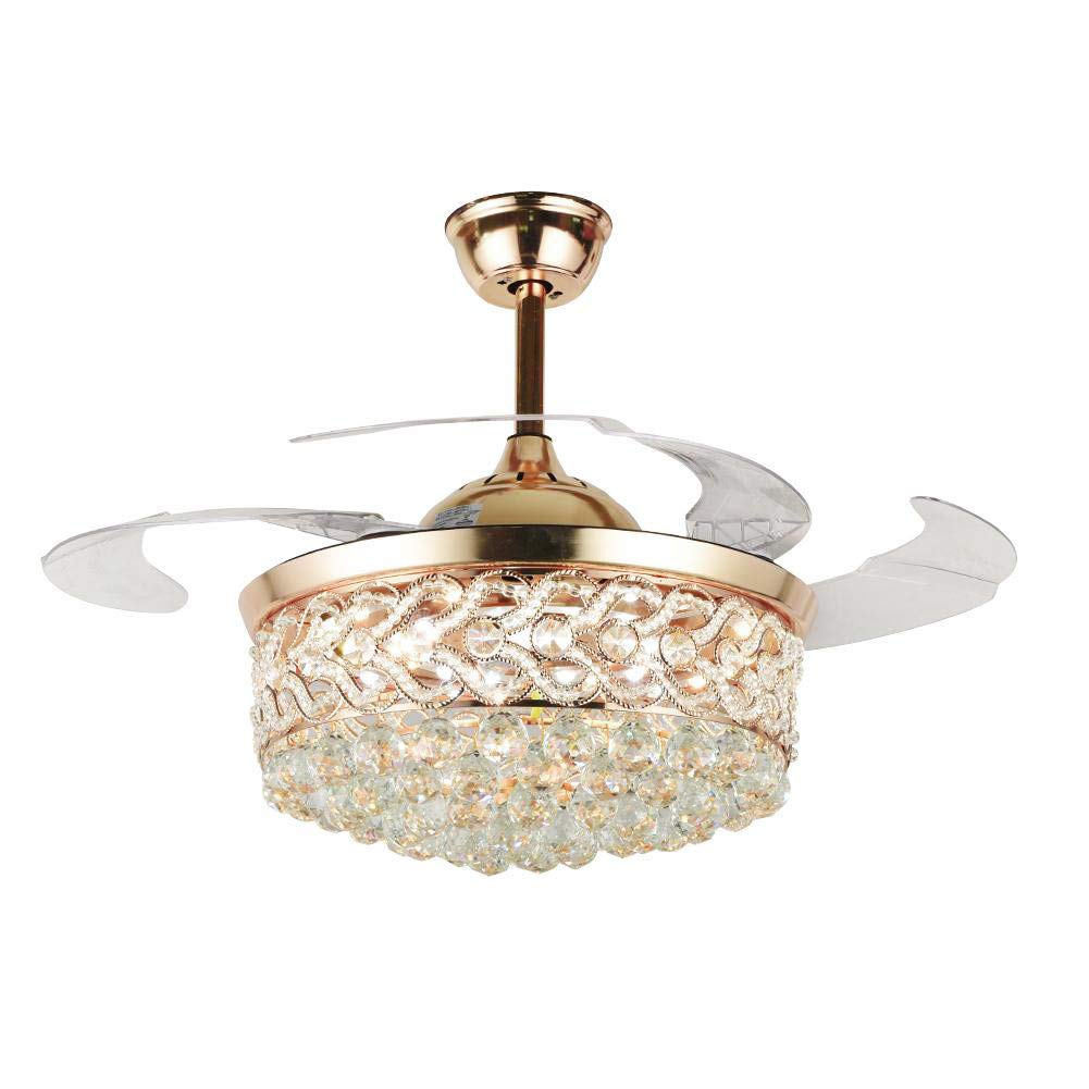 """MoreChange 42"""" Modern Luxury Crystal Ceiling Fan with Lights Retractable Blades Remote Control LED Chandelier Fan 3 Speeds 3 Color Changes Lighting Fixtures, Silent Motor with LED Kits(Gold)"""