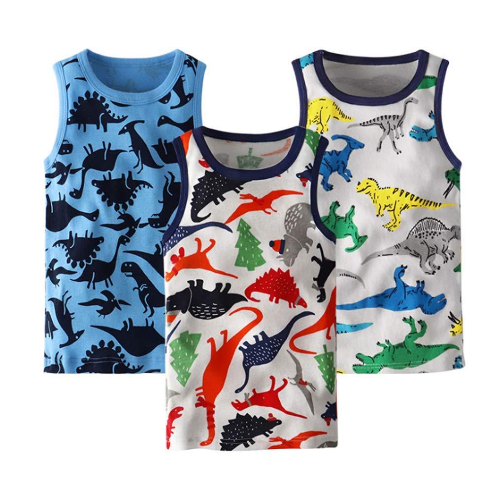 AMMENGBEI Toddler Boys Girls Cotton Sleeveless Tank Top Cartoon Undershirts Kids 2-7T Pack of 3