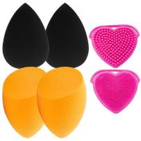 4+1Pcs Makeup Blenders with Cosmetic Sponges & Brushes Cleaner,Foundation Powder Blending Buds,Dry and Wet Used Beauty Muti-colored Blender,Soft Blending Sponge