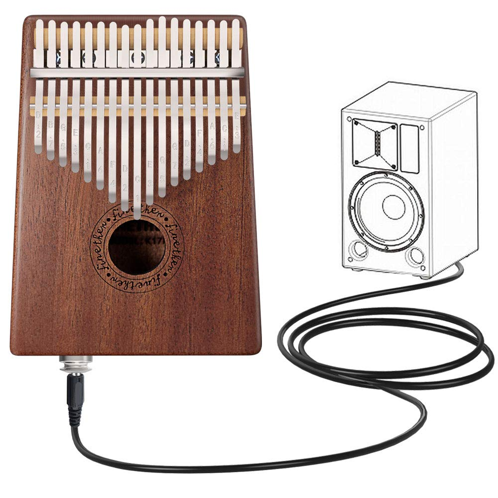 Kalimba 17 Key Thumb Piano Finger Mahogany Music Instruments with Pickup Jack, Tuning Tool and Carry Bag by Finether