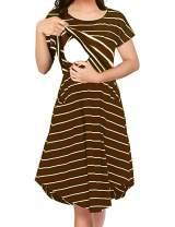 Larenba Womens Long Sleeve Stripe Maternity Nursing Dress for Breastfeeding