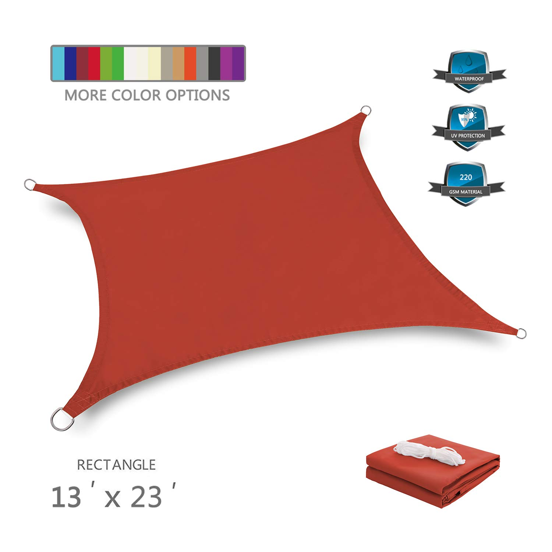 Tuosite Terylene Waterproof Sun Shade Sail UV Blocker Sunshade Patio Rectangle Knitted 220 GSM Block Fabric Pergola Carport Awning 13' x 23' in Color Iron Red