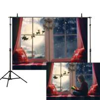 Allenjoy 7x5ft Christmas Photography Backdrop Window Snowflake Pillow Sill Moon Reindeer Santa Garland Wreath Xmas Holiday Family Party Kids Background Decoration Banner Photo Booth Studio Prop