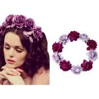 Edary Boho Rose Flower Wreath Wedding Garland Headpiece Seaside Floral Crown Hair Accessories for Women and Girls. (Purple)