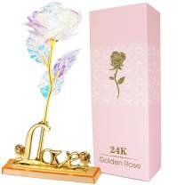 AUSAYE 24K Colorful Rose Forever Artificial Flowers Unique Gifts for Valentine's Day Thanksgiving Mother's Day Girl's Birthday, Flower Presents for Her for Girlfriend Wife Women