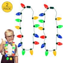 Tinabless Christmas Light Necklace (2 Packs), Light Up Christmas Bulb Necklace Party Favors with 12 LED Bulbs for Kid Adult, Xmas Gift & Decoration