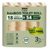WBM LLC 3-ply Super Soft Bamboo Toilet Paper, 18 Family Mega= 54 Regular Rolls, 250 Sheets, 18 Count