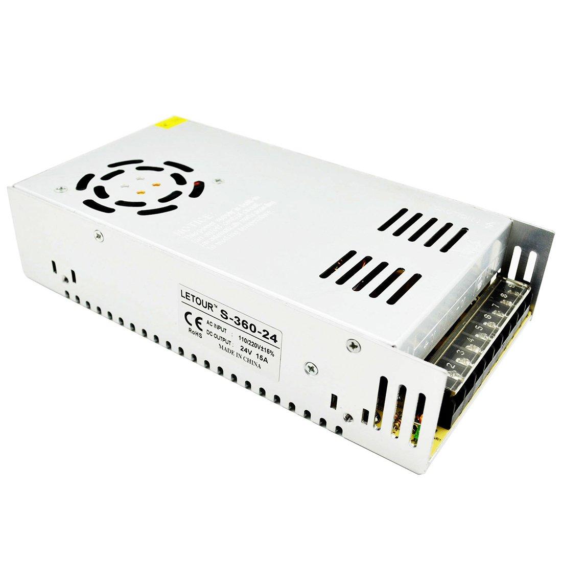 LETOUR LED Power Supply 24V 15A 360W AC 96V-240V Converter Adapter DC S-360W-24 Power Supply for LED Lighting,LED Strip,CCTV (24V 15A 360W)
