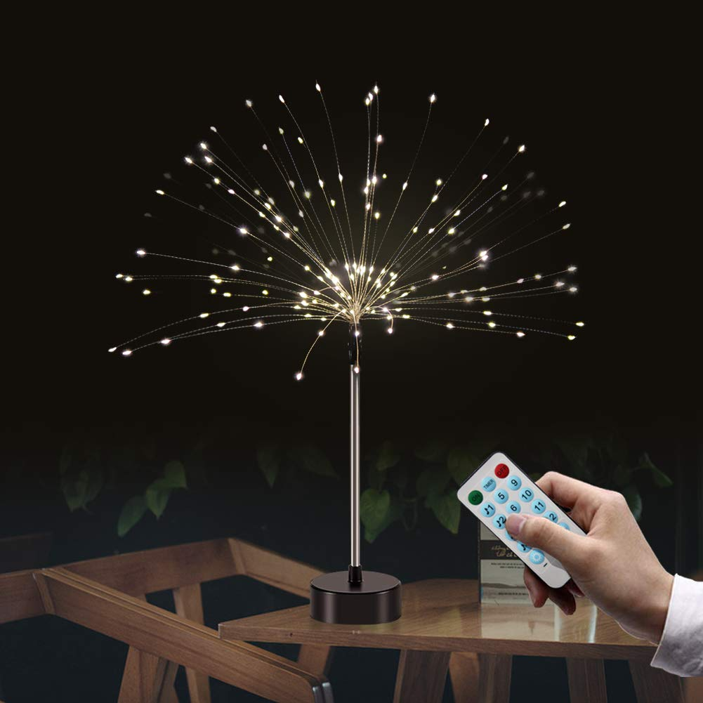 Firework Fairy Lights with Remote Control,Auelife 120 LED 4 Sounds 8 Mode Twinkle String Lights Battery Operated String Lights DIY for Living Room,Bedroom,Party,Wedding Decoration (2pc, Warm White)