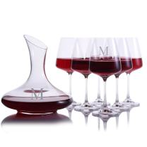 Personalized Mozart Crystal Wine Decanter with 6 Stemmed Crystal Red Wine Glasses Engraved & Monogrammed by Crystalize - Great Housewarming Gift - Perfect for Valentine's Day or Wedding Gift