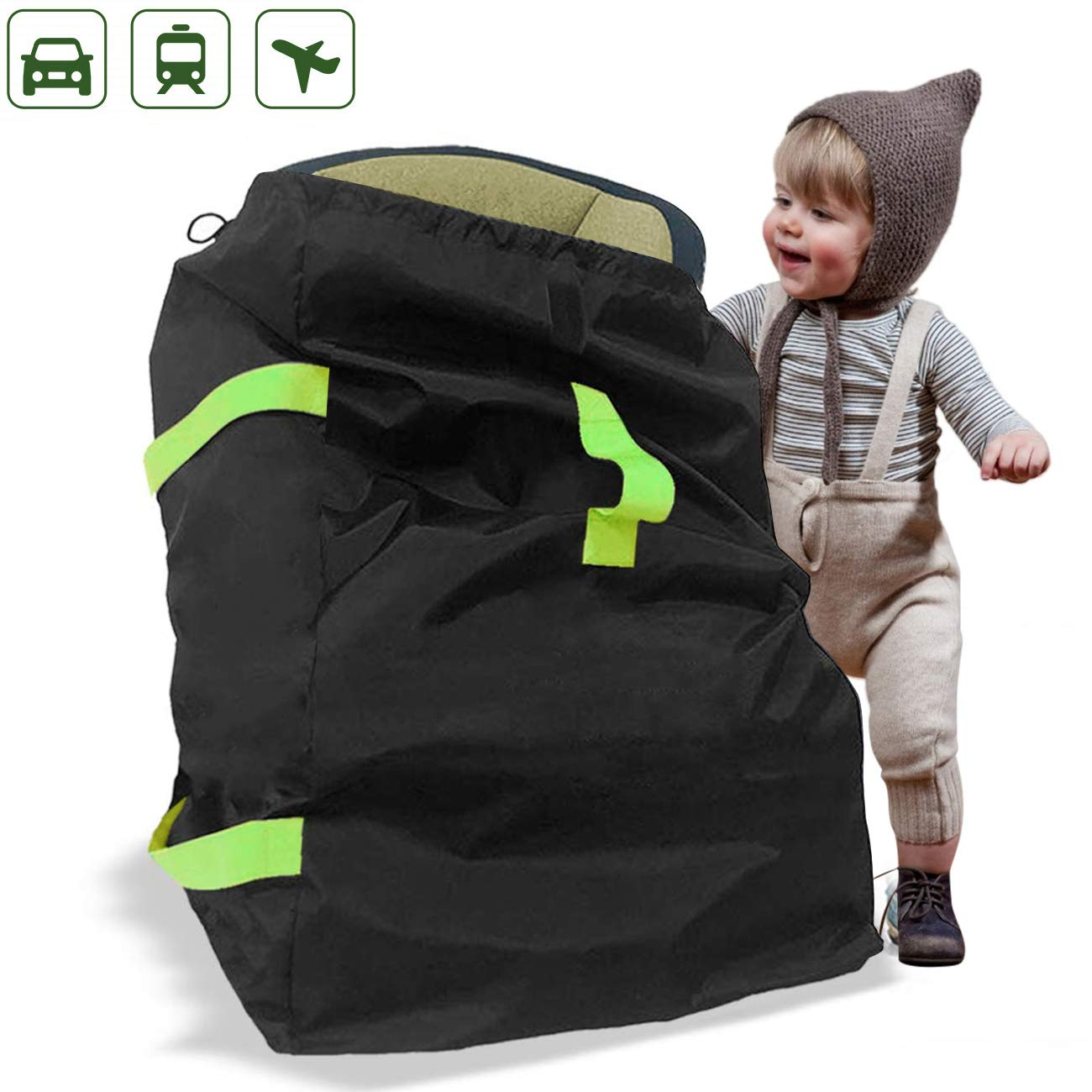 Jolitac Car Seat Travel Bag and Carrier Fit Most Carseat Models, Gate Check Bag for Baby Seats on Travel, Portable Car Seats Tote - Including Backpack Straps, Side Pocket and Storage Pouch