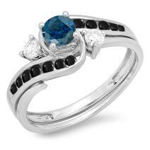 Dazzlingrock Collection 0.90 Carat (ctw) 18K Gold Round Blue, Black & White Diamond Ladies Swirl Bridal Engagement Ring Band Set