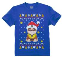 Paw Patrol Ugly Christmas Rubble Santa Bell Race to Rescue Toddler Kids T-Shirt