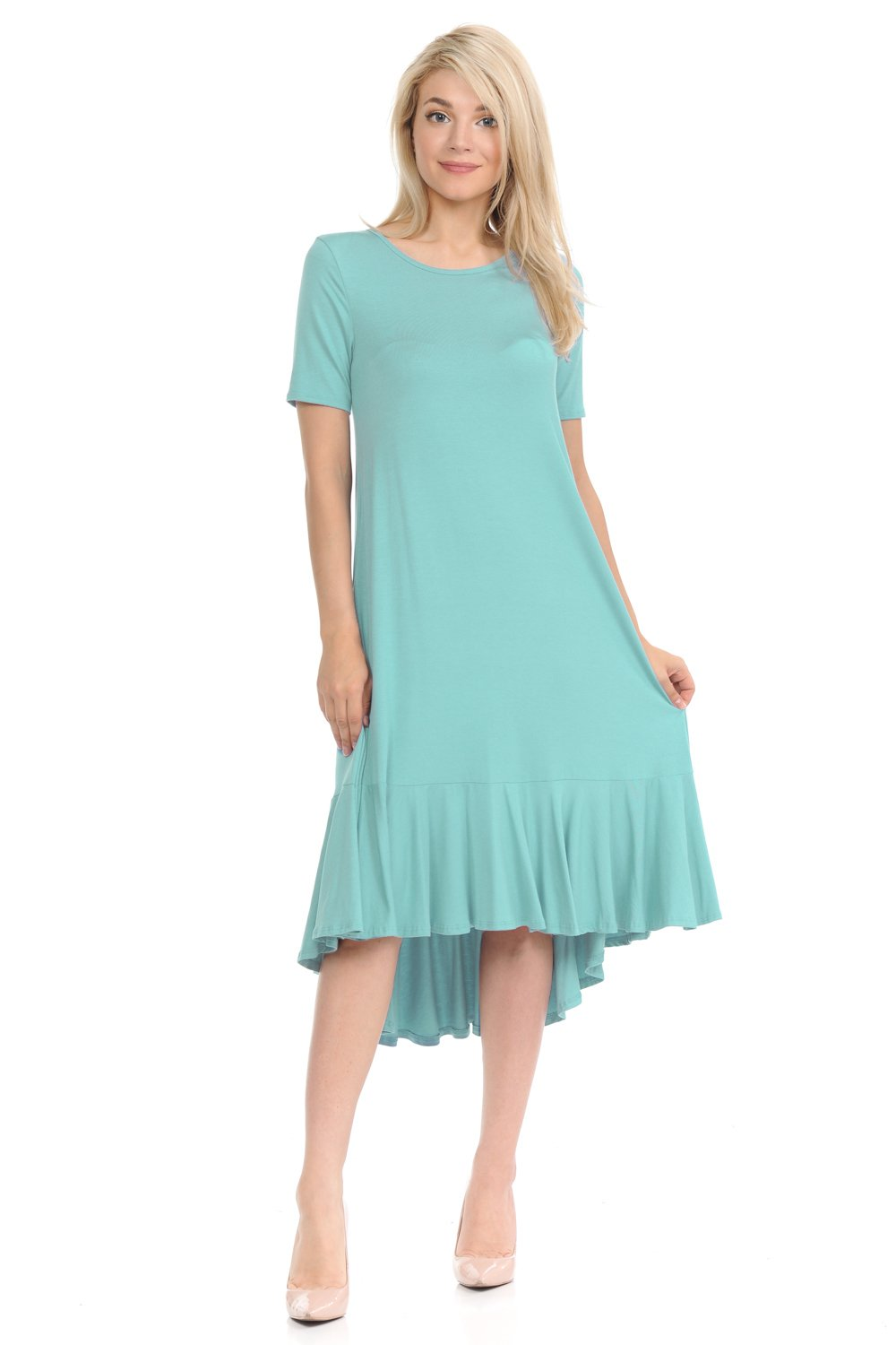 Pastel by Vivienne Women's Short Sleeve High-Low Mid Dress with Ruffle Detail