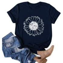 POTO Summer Tops for Women, Women's Short Sleeve Shirts Daisy Print Graphic Tees O-Neck Casual T-Shirt Tunic Blouses
