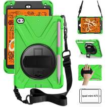 ZenRich iPad Mini 5 Case 2019 iPad Mini 4 Case 2015 Heavy Duty Shockproof Rugged Case with Pencil Holder 360 Degree Kickstand Hand Strap Carrying Shoulder Belt for iPad 7.9 inches Tablet, Green