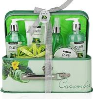 Essence of Luxury Spa Gift Basket Bath Set! PURE Spa Basket Natural Skin Care Gift Set Makes Best Valentines Day Gift for Women & Holiday Gift Baskets! (Cucumber)