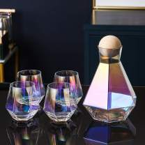 Iridescent Glasses Set Rainbow Drinking Glass Set, Diamond Whiskey Decanter Set, With Set of 4 Whiskey Diamond Glasses, 4 Exquisite Spoons, 1 Tray and a Perfect Gift Box