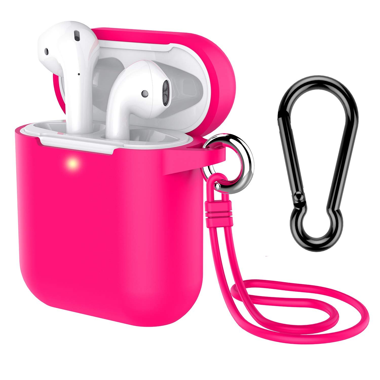 AirPods Case with Keychain, Coffea Silicone Protective Cover Skin with Stap for AirPods Charging Case 2 & 1 [Front LED Visible] (Rose Red)