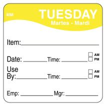 "DayMark Day of The Week 2"" x 2"" Removable Label, Tuesday, Item/Date/Use by, (Roll of 500)"