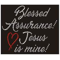 Blessed Assurance Iron On Rhinestone and Rhinestud Transfers for T-Shirts by JCS Rhinestones