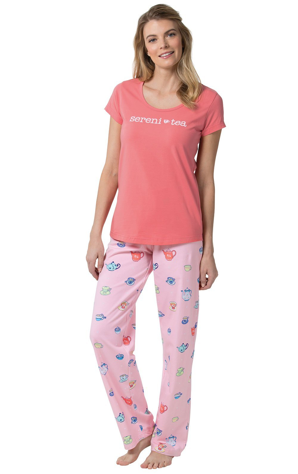 PajamaGram Sereni-Tea Women's Pajamas and Short-Sleeved Top, Pink