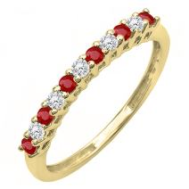 14K Gold Round Ruby And White Diamond Anniversary Stackable Wedding Band