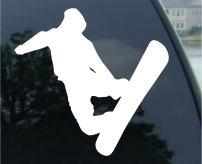 "SoCoolDesign Jumping Snowboarder Car Window Vinyl Decal 5"" Wide (White)"