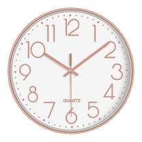 LAMIKO Non-Ticking Silent Wall Clocks 12 Inch Battery Operated Quartz Decro Clock Easy to Read for Bedroom Home Kitchen Room Office School, Gold