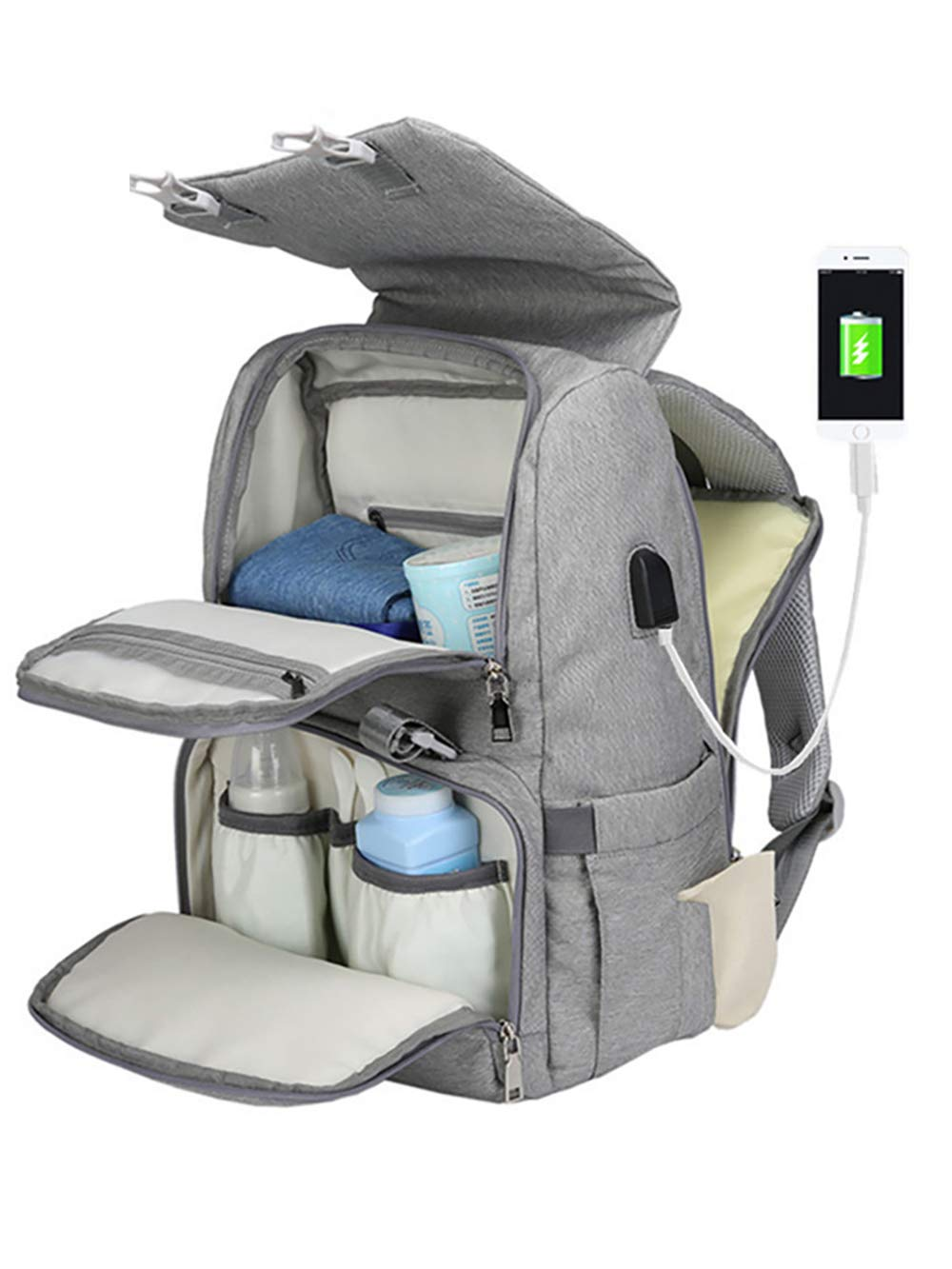 COCOCKA Diaper Bag Backpack with Changing Pad,USB Charging Port &Stoller Straps