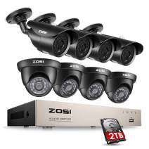ZOSI 8CH 1080P Security Camera System Outdoor with 2TB Hard Drive 8 Channel 1080P HD Wired DVR and 8X 1080P HD Outdoor IP67 Weatherproof CCTV Cameras, Smart Playback, Instant Email Alert with Images