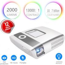 Flysight Portable 4K Projector Built In 15000mAh Battery Mini Video Projector 2000 Lumens Projector with DLP Technology for Home Cinema 13000: 1 Contrast Ratio with Double HDMI Port and Dual Reception