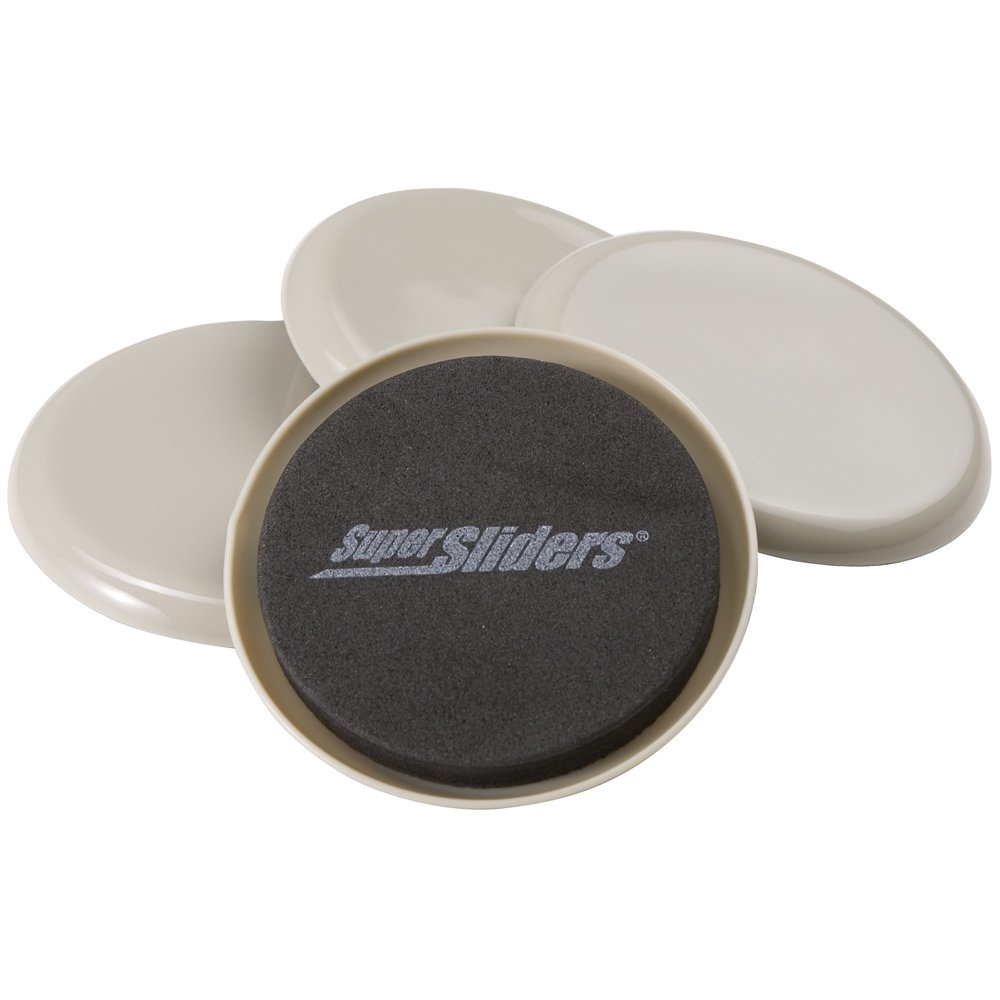 """SuperSliders 4703495K Reusable Furniture Sliders for Carpet- Quickly and Easily Move Any Item, 3-1/2"""" Linen (4 Pack)"""