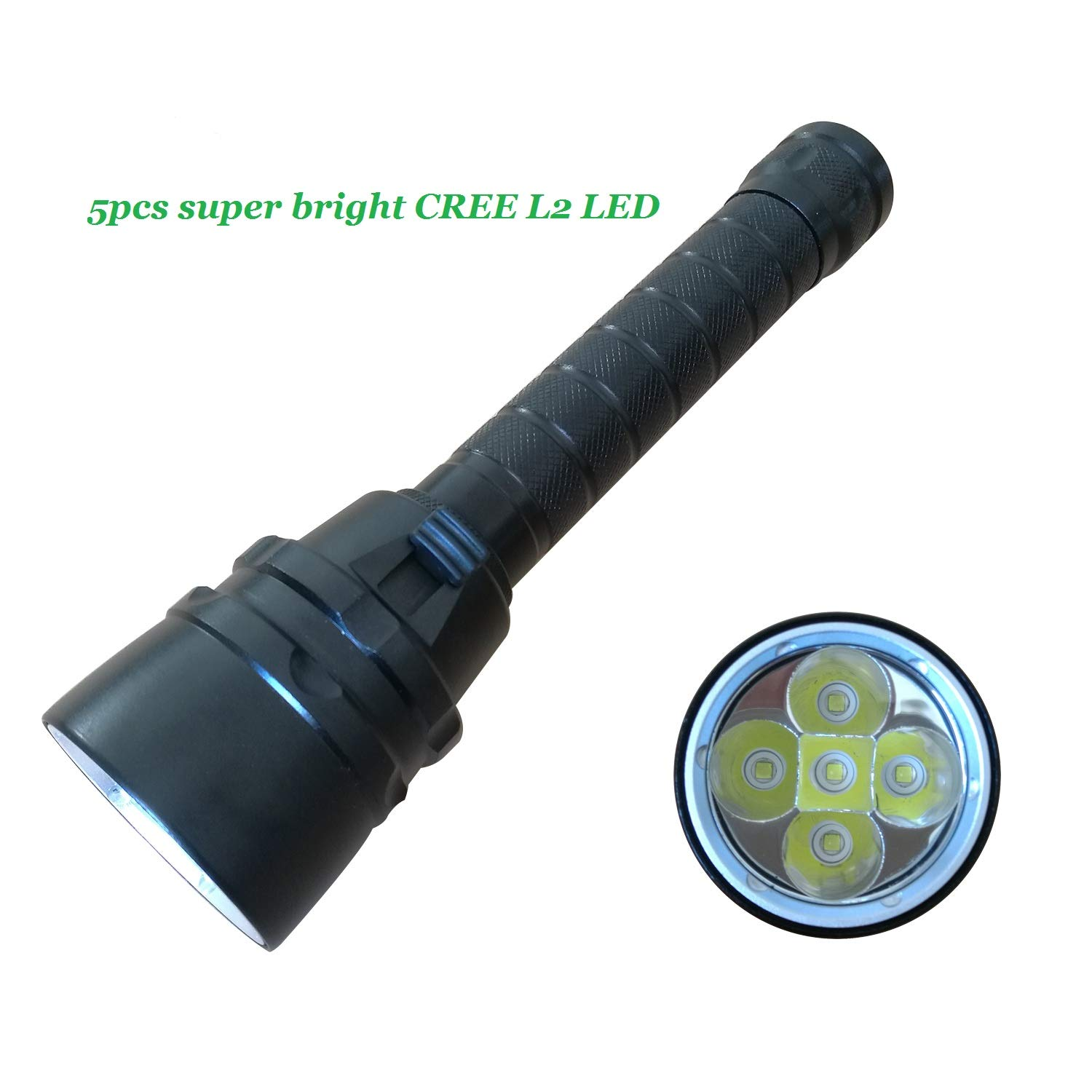 Goldengulf Professional Scuba Diving Flashlight 5PCS CREE L2 LED Super Bright 4800 Lumen Underwater 100M Submarine Light Battery and Charger Included