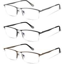 3 Pack Blue light Blocking Reading Glasses for Men, Metal Frame Reading Glasses