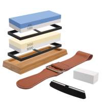 Knife Sharpening Stone Set, 4 Side Grit 400/1000 3000/8000, Professional Whetstone Knife Sharpener, Whetstone Sharpening Kit with Non-slip Bamboo Base, Flatting Stone, Angle Guide & Leather Strop