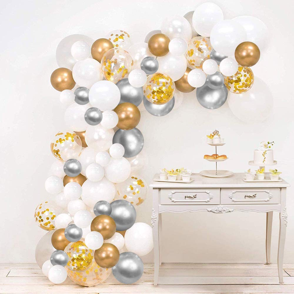 Hiquaty Sliver Gold Confetti Balloons, 120Pack White and Metallic Gold Party Balloon Garland Kit with Strip Tape, Dot Glue for Wedding Birthday Graduation Party Supplies