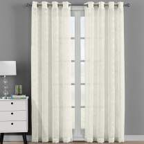 Royal Bedding Brook Beige Sheer Panels, Top Grommet Embroidered Sheer Curtain Panels, Set of 2, 54Wx108L inches Each