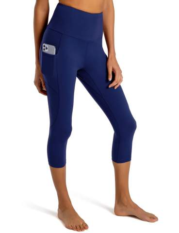 Tummy Control Yoga Workout Pants Gym Tights FIRST WAY High Waist Womens Running Leggings Capris with 7 Pockets