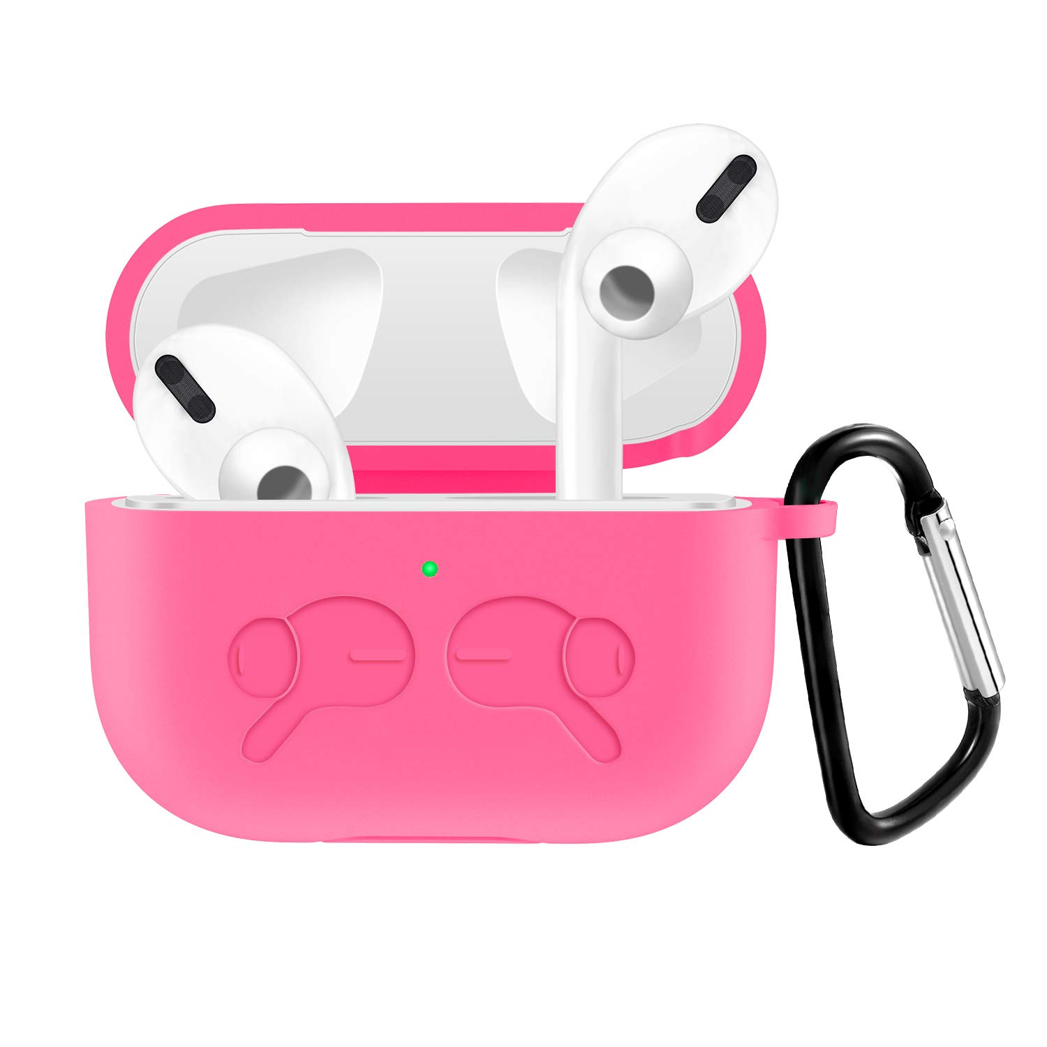 JuQBanke Silicone Cover Compatible for Airpods Pro Case, Full Protective Visible Front LED Upgrade Bounce Shock Proof Case with Keychain Compatible for AirPods Pro Charging Case, Hot Pink