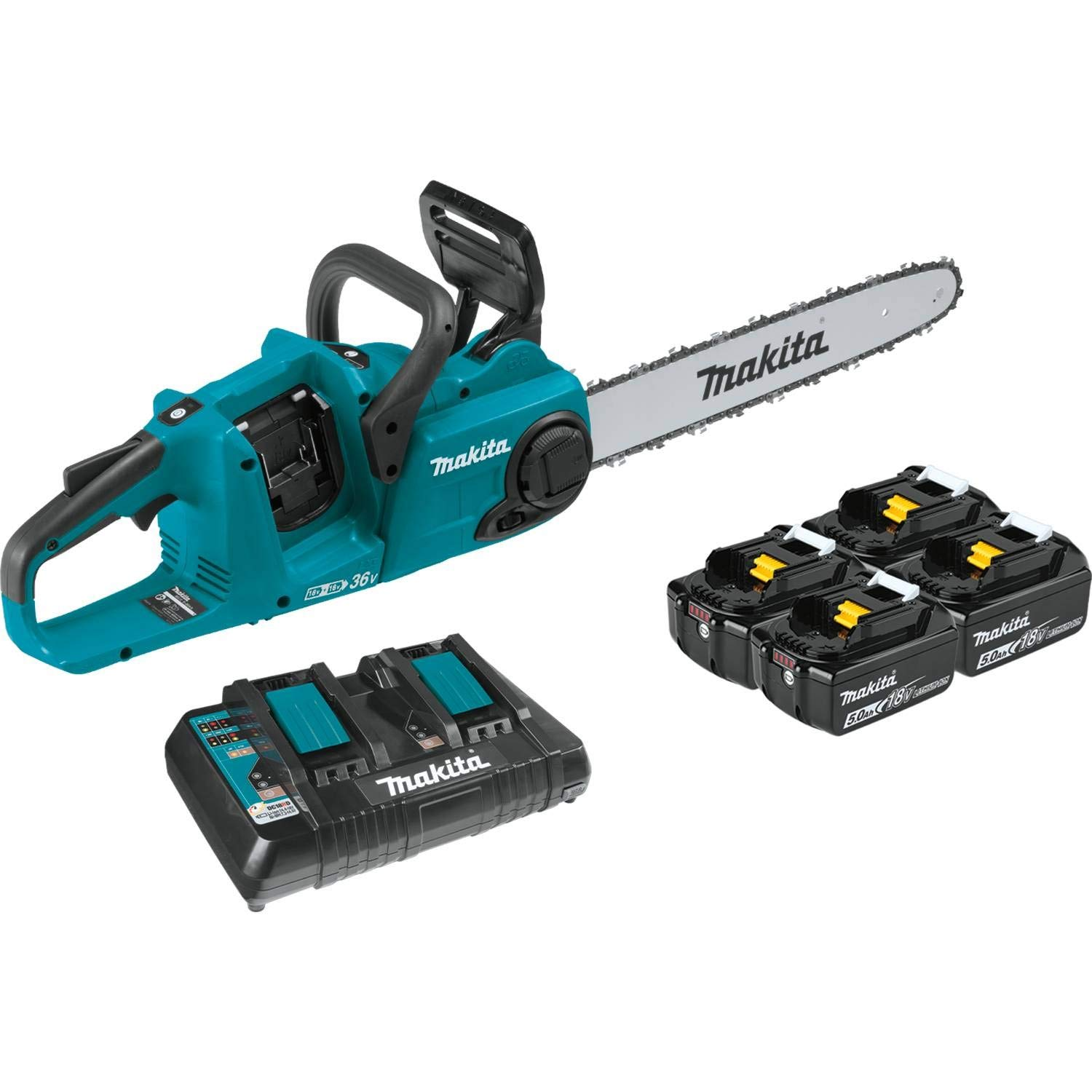 """Makita XCU04PT1 (36V) LXT Lithium-Ion Brushless Cordless (5.0Ah) 18V X2 16"""" Chain Saw Kit with 4 Batteries, Teal"""