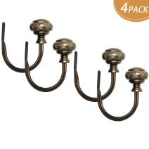 KAMANINA Decorative Curtain Drapery Holdbacks, Window Curtain Holdbacks, Marbled Finials, Bronze(2 Pair/4 Pack)