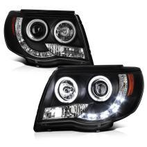 VIPMOTOZ CCFL Halo Ring Black Projector Headlight Headlamp Assembly For 2005-2011 Toyota Tacoma Pickup Truck, Driver & Passenger Side