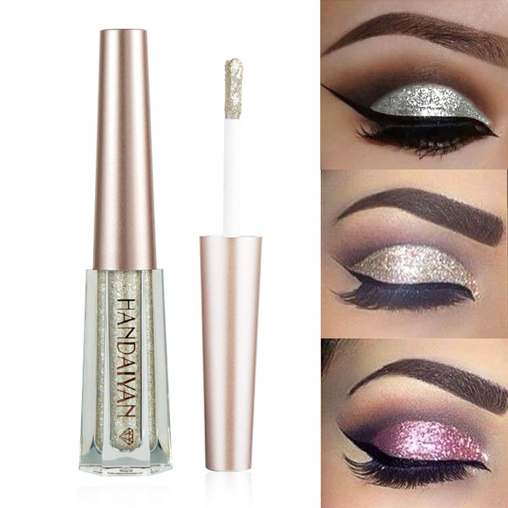 GL-Turelifes Diamond Glitter Liquid Eyeshadow & Eyeliner Pen Starry Sequins Mermaid Eye Shadow Long Lasting Shiny and Pigmented Waterproof Sparkling &Shimmer Eyes Makeup(#7 Silver)