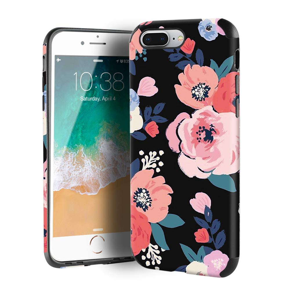 CUSTYPE iPhone 8 Plus Case, iPhone 7 Plus Case for Girls & Women, Floral Series Watercolor Camellia Flower Pattern Design PC Leather TPU Bumper Slim Protective Cover for iPhone 7 Plus/ 8 Plus 5.5''