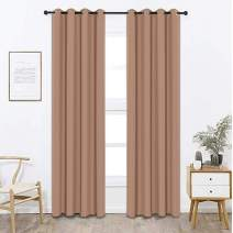 Bardwil Blackout Curtains Panels for Bedroom - Window Curtain Panels Treatment Thermal Insulated Solid Grommet Blackout Drapes (1-Pack, 52 x 95 inch, Rice Brown)