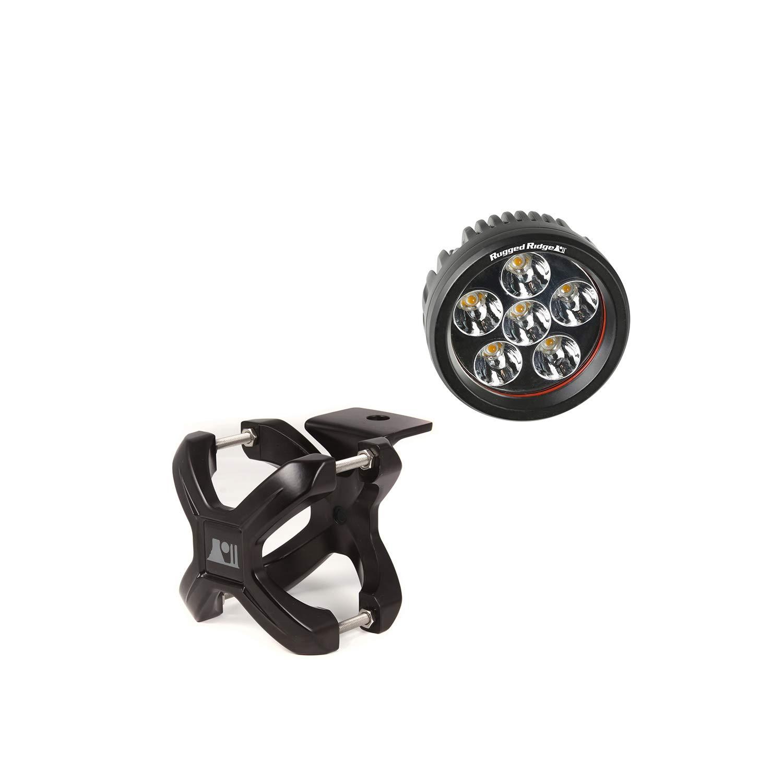Rugged Ridge 15210.04 Black Round X-Clamp & LED Light Kit